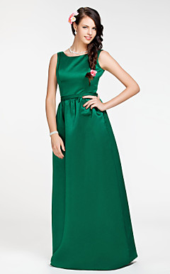 Sheath/Column Jewel Floor-length Satin Bridesmaid Dress