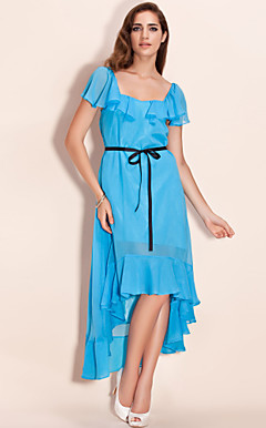 TS Asymmetric Hem Ruffle Maxi Tail Dress