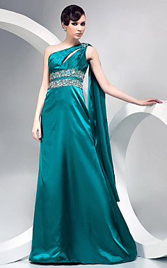 A-line One Shoulder Sweep/ Brush Train Stretch Satin Evening Dress