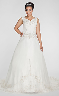 A-line V-neck Chapel Train Organza Plus Size Wedding Dress