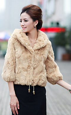 Fashion 3/4 Sleeve Party/Evening Rabbit Fur Jacket (More Colors)
