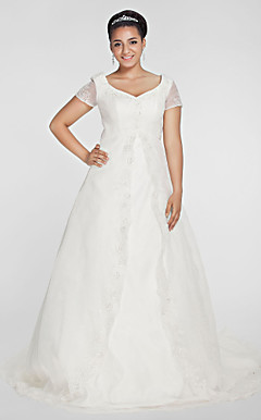 ALEXANDRIA - Abito da Sposa in Organza (Taglia Forte)