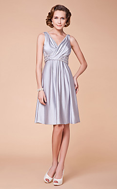A-line V-neck Knee-length Spandex Mother of the Bride Dress