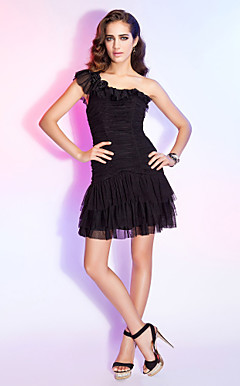 Sheath/Column One Shoulder Short/Mini Ruched Tulle Cocktail Dress With Flowers