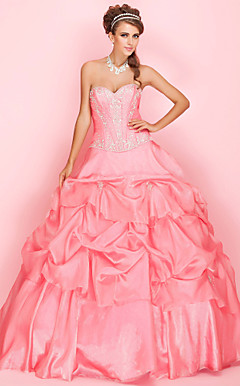 Ball Gown Sweetheart Floor-length Organza Prom Dress With Embroidery