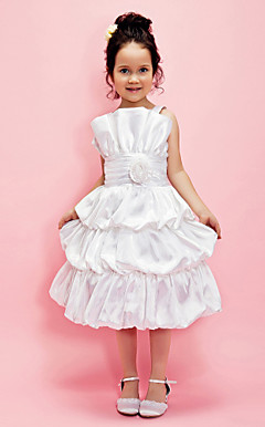 Ball Gown Straps Tea-length Satin Flower Girl Dress