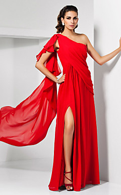 Sheath/Column One Shoulder Sweep/Brush Train Chiffon Cocktail Dress