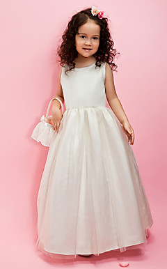 A-line/Ball Gown Jewel Floor-length Satin Flower Girl Dress