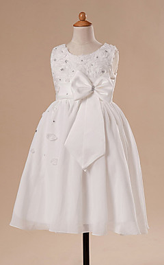 A-line Jewel Knee-length Satin Flower Girl Dress