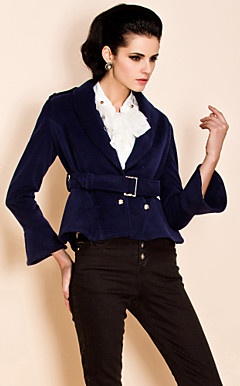 TS Double Breast Self Belt Velveteen Jacket Blazer