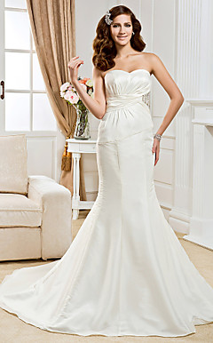 Trumpet/  Mermaid Sweetheart Chapel Train Taffeta  Wedding Dress