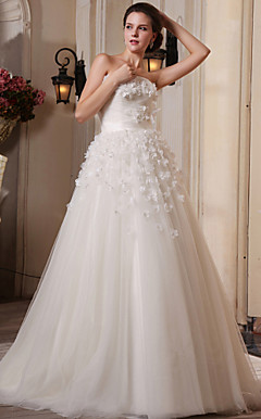 A-line Strapless Court Train Tulle Satin Wedding Dress
