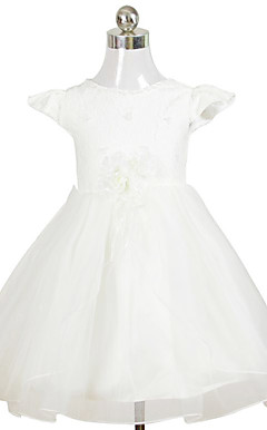 Lovely A-line Scoop Tea-length Satin Organza Flower Girl Dress
