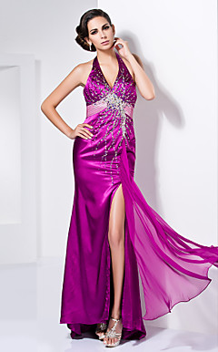 Sheath/Column V-neck Halter Floor-length Stretch Satin Evening Dress