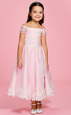 A-line Bateau Ankle-length Organza Over Satin Flower Girl Dress