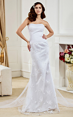 Trumpet/  Mermaid Strapless Floor-length Tulle And Lace Wedding Dress
