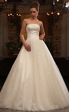 A-line Strapless Floor-length Tulle Wedding Dress