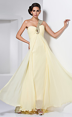 Sheath/Column Sweetheart One Shoulder Floor-length Chiffon Beading Ruching Evening Dress