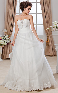 Ball Gown Strapless Cathedral Train Organza Ruffles Wedding Dress With Bow