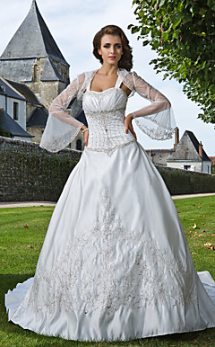 Ball Gown Sweetheart Straps Chapel Train Satin Wedding Dress With A Wrap