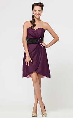 A-line Sweetheart Short/Mini Satin And Chiffon Bridesmaid Dress With Flower(s)