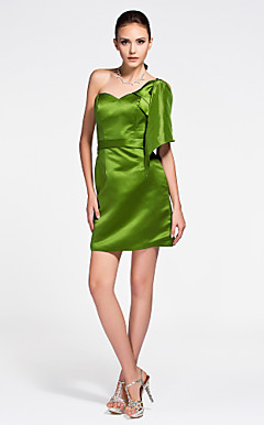 Sheath/ Column Sweetheart Short/ Mini Satin Bridesmaid Dress