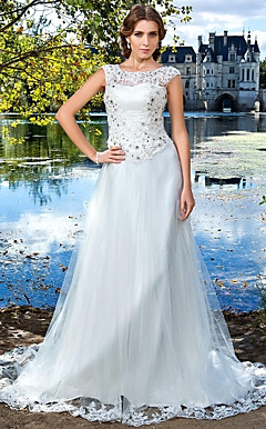 Sheath/Column Jewel Court Train Tulle Wedding Dress