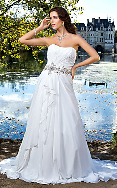 A-line Sweetheart Strapless Chiffon Wedding Dress