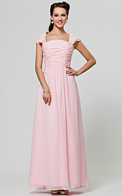 A-line Square Floor-length Chiffon Bridesmaid Dress