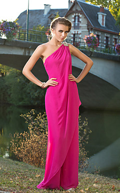 One Shoulder Floor-length Chiffon Pantsuit