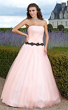 Ball Gown Strapless Floor-length Tulle Evening Dress