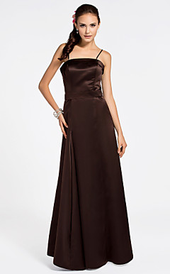 A-line Spaghetti Straps Sleeveless Ankle-length Satin Bridesmaid Dress