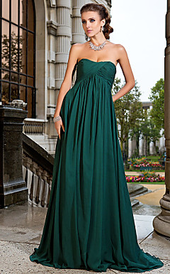 A-line Strapless Sweep/Brush Train Chiffon Evening Dress