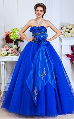Ball Gown Sweetheart Floor-length  Satin And Tulle Evening Dress