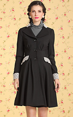TS VINTAGE Lace Decor Pleats Wave Tweed Coat