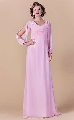 Sheath/Column Cowl Floor-length Chiffon Mother of the Bride Dress