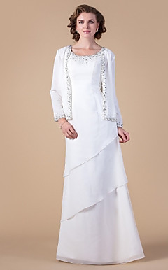 Sheath/Column Scoop Floor-length Chiffon Mother of the Bride Dress With A Wrap