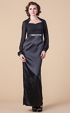 Sheath/Column Queen Anne Floor-length Stretch Satin And Chiffon Mother of the Bride Dress