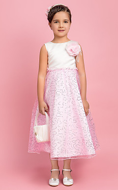 A-line Jewel Tea-length Tulle And Satin Flower Girl Dress