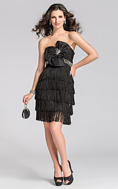 Mantel / Spalte strapless kurz / Mini-Taft-Cocktail-Kleid