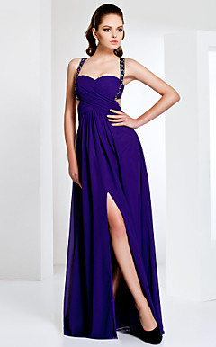 Chiffon Sheath/Column Floor-length Evening Dress With Straps