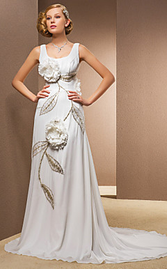 Sheath/Column Scoop Sweep/Brush Train Chiffon And Stretch Satin Wedding Dress