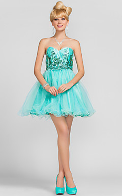 Ball Gown Sweetheart Short/Mini Tulle Cocktail Dress