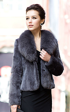Long Sleeve Fox Fur Shawl Collar Rex Rabbit Fur Casual/Office Jacket (More Colors)