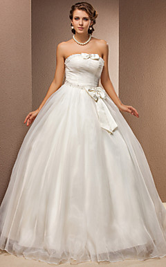 Ball kappe stroppeløs Tulle Floor-length Wedding Dress