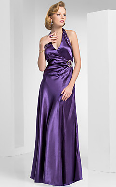 A-line Haulter floor-length Satin Evening Dress