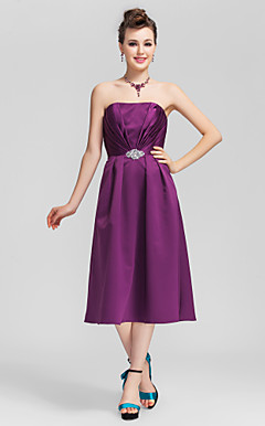 A-line Straps Tea-length Satin Bridesmaid Dress with Removale Straps