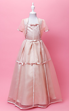A-line Spaghetti Straps Floor-length Organza And Satin Flower Gril Dress