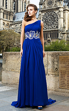 A-line/Princess One Shoulder Sweep/Brush Train Chiffon Evening Dresses