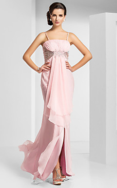 Sheath/Column Spaghetti Straps Floor-length Chiffon Evening Dress